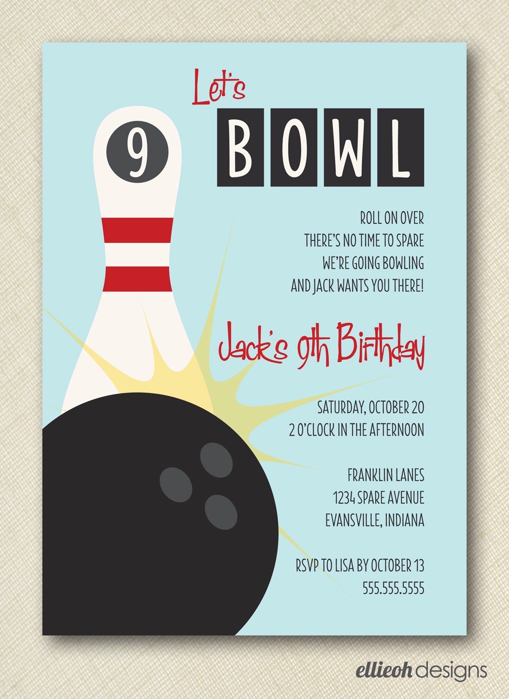 9 Images of Bowling Birthday Invitations Printable