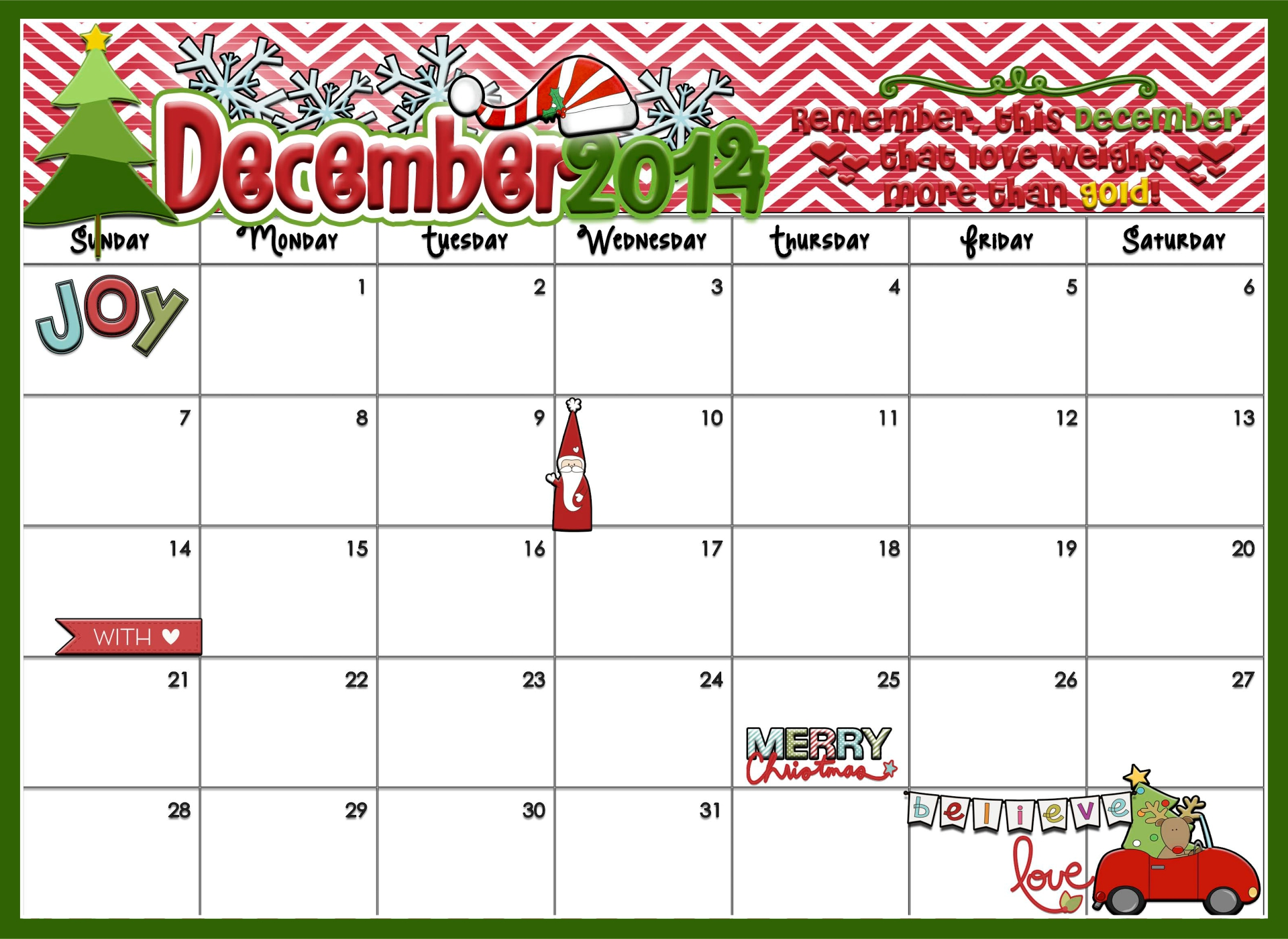5 Images of Printable Christmas Countdown Template