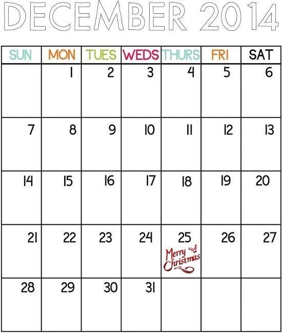 Printable Christmas Countdown Calendar 2014