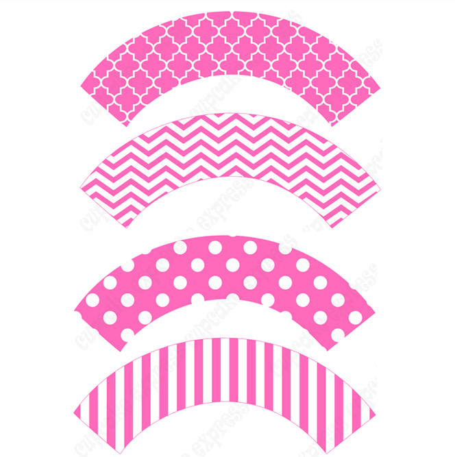 4 Images of Pink Cupcake Wrappers Printable Template