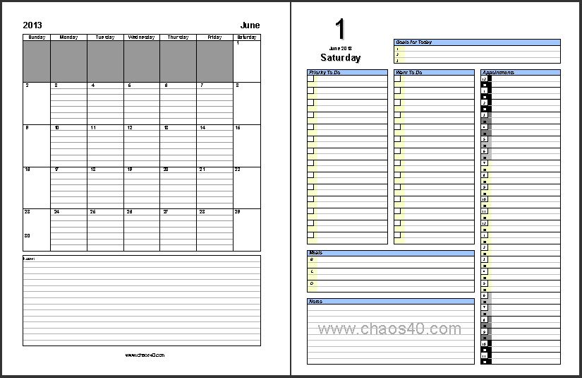 Free Printable Daily Planner 2013