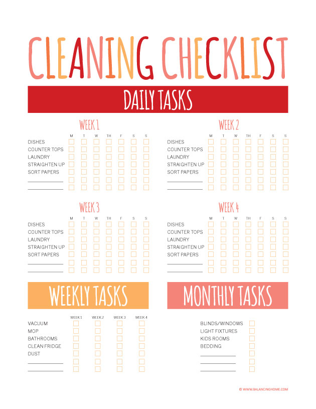9 Images of Free Printable Cleaning Checklists