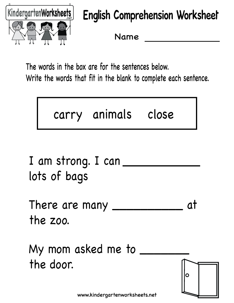 Free Noun Worksheets Kindergarten 4 best images of free – Noun Worksheets for Kindergarten