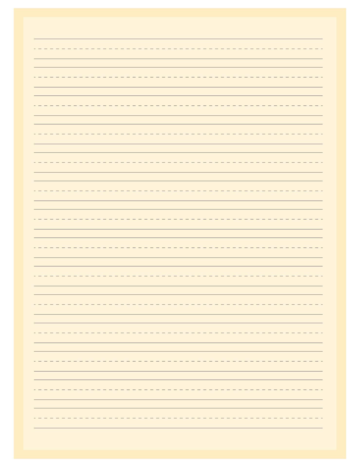 Printable Lined Writing Paper Kindergarten