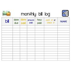 5 Images of Free Printables For Monthly Bills