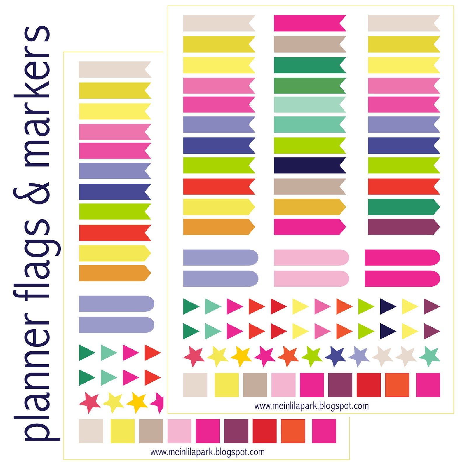 Printable Planner Stickers Flags