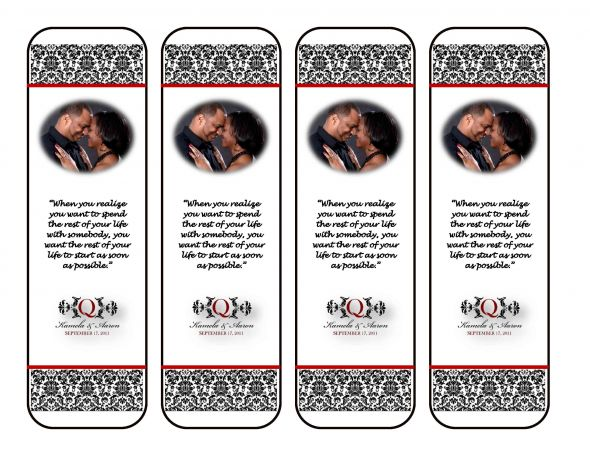 8 Images of Printable Wedding Favor Bookmarks