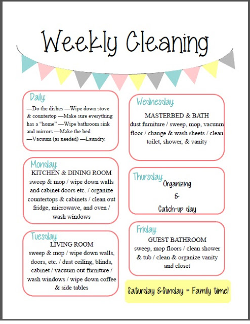 7 Images of Free Printable Weekly Cleaning Schedule