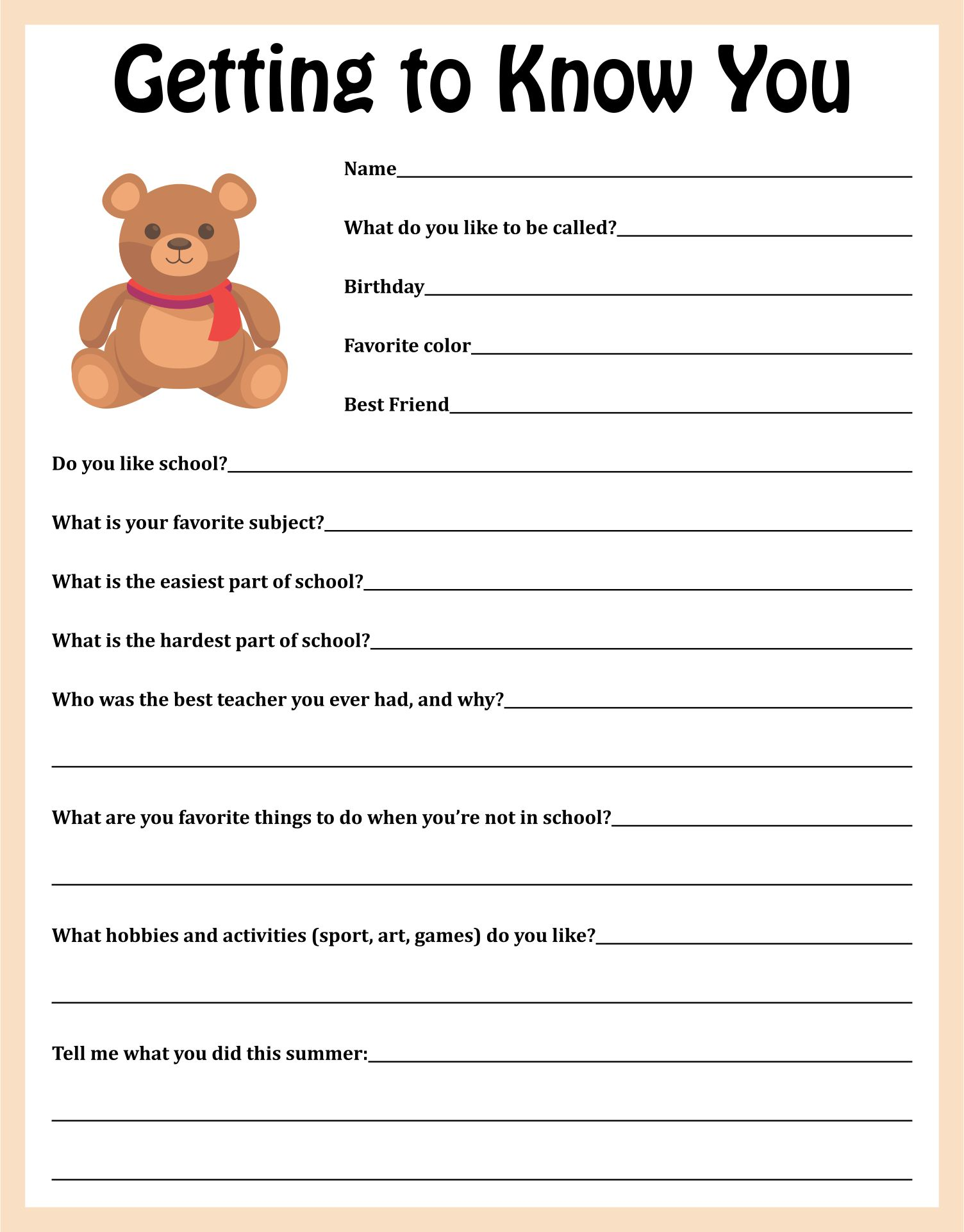 Getting to Know You Student Survey