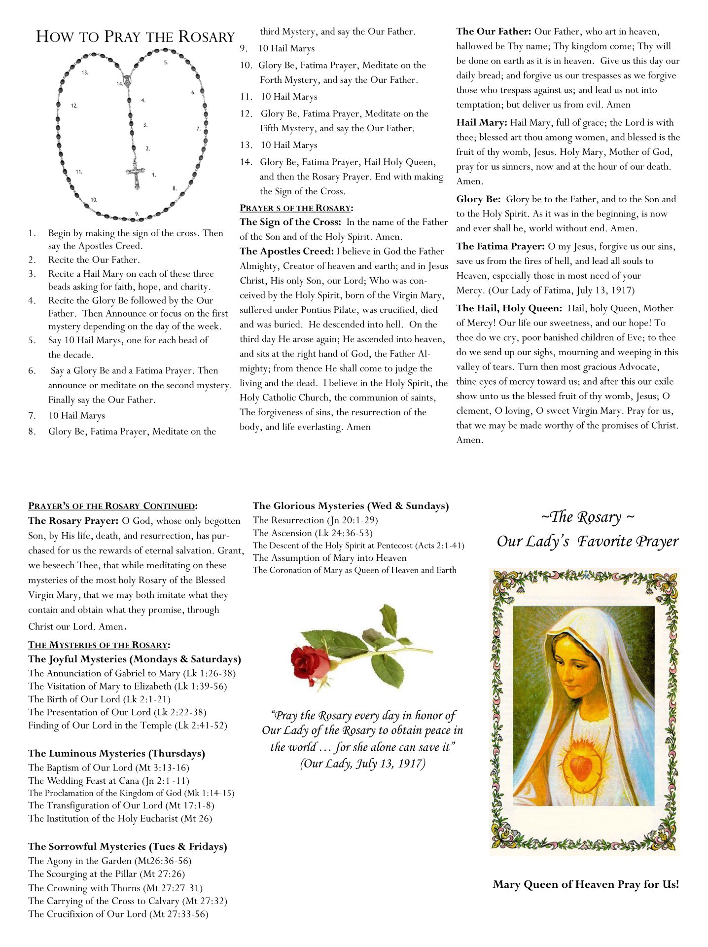 How to Pray the Rosary Pamphlet Printable