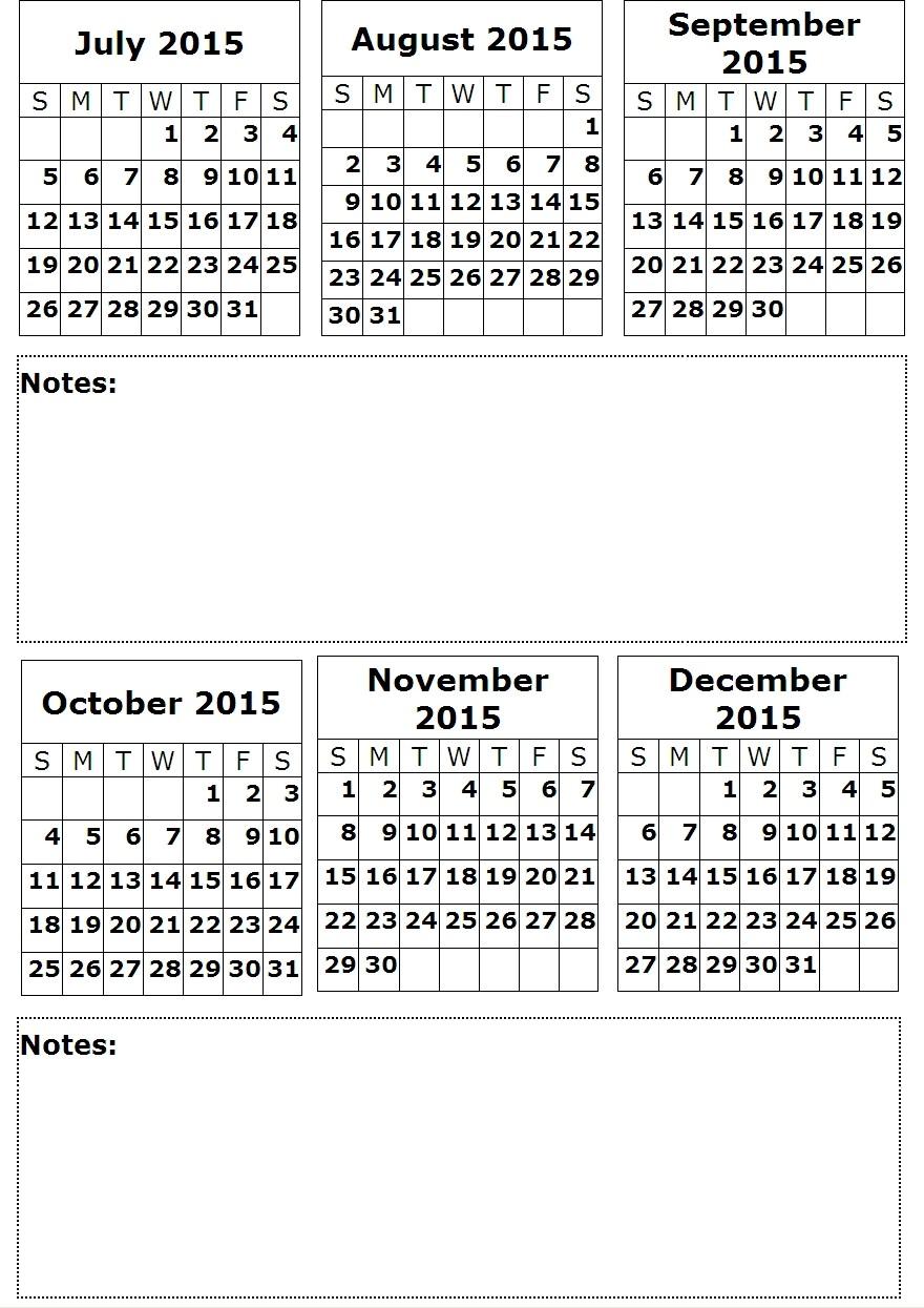 July 2015 Printable Calendar 6 Months