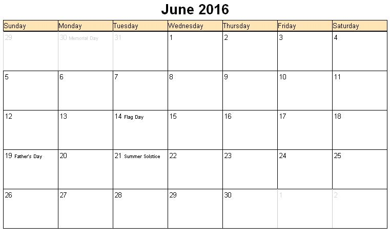 6 Images of 2016 Calendar Printable June