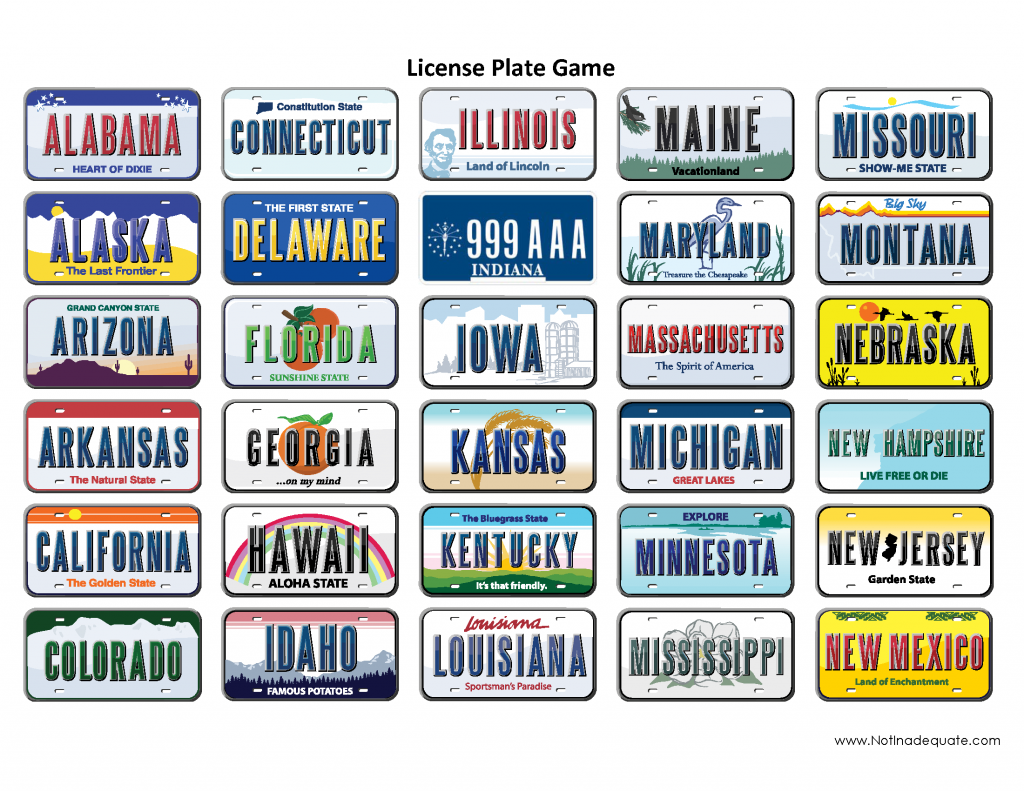 5 Images of Printable License Plate Game Sheet