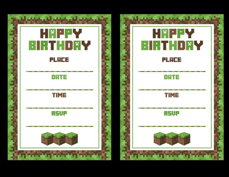 7 Images of Minecraft DIY Printable Invitation