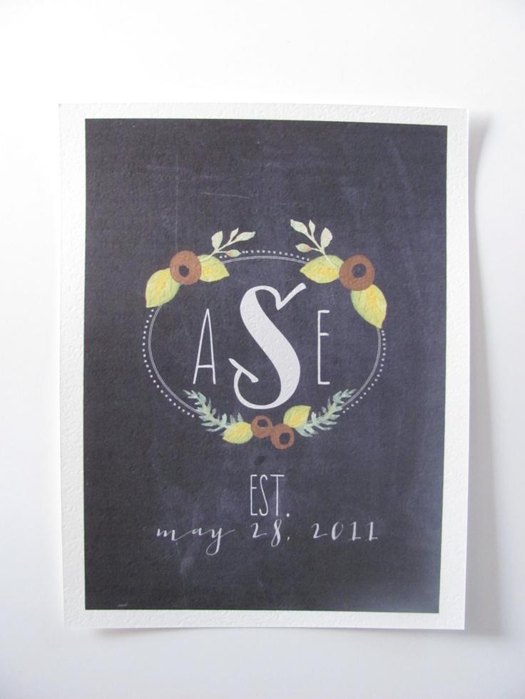 Monogram Chalkboard Printable