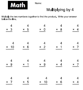 Worksheets 4 Multiplication Worksheet 7 best images of printable multiply by 4 worksheet multiplication worksheet