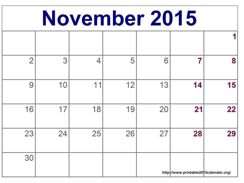 2015 Calendar Printable - Blank November Calendar 2015, November 2015 ...