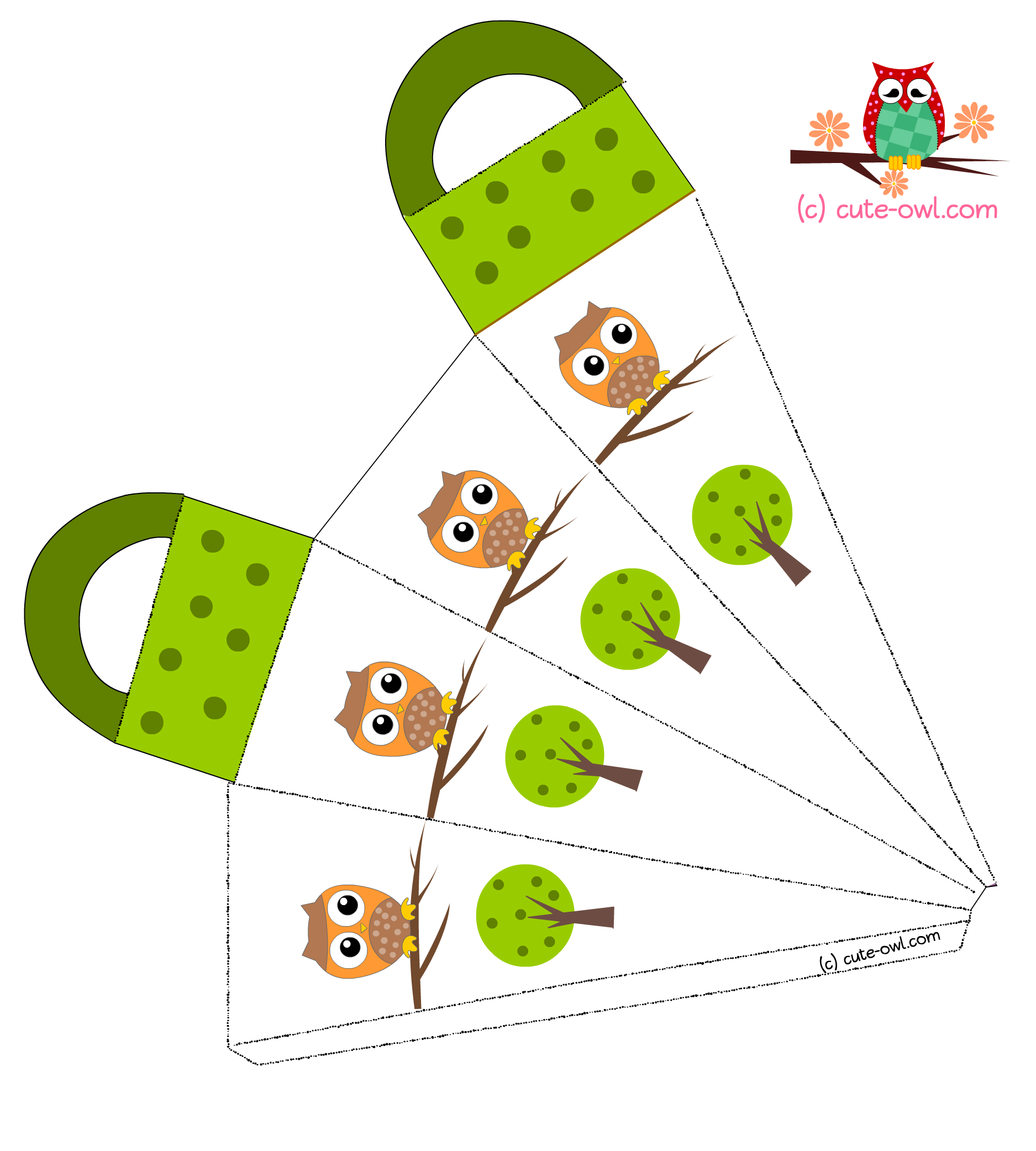 5 Images of Free Printable Owl Favor Box