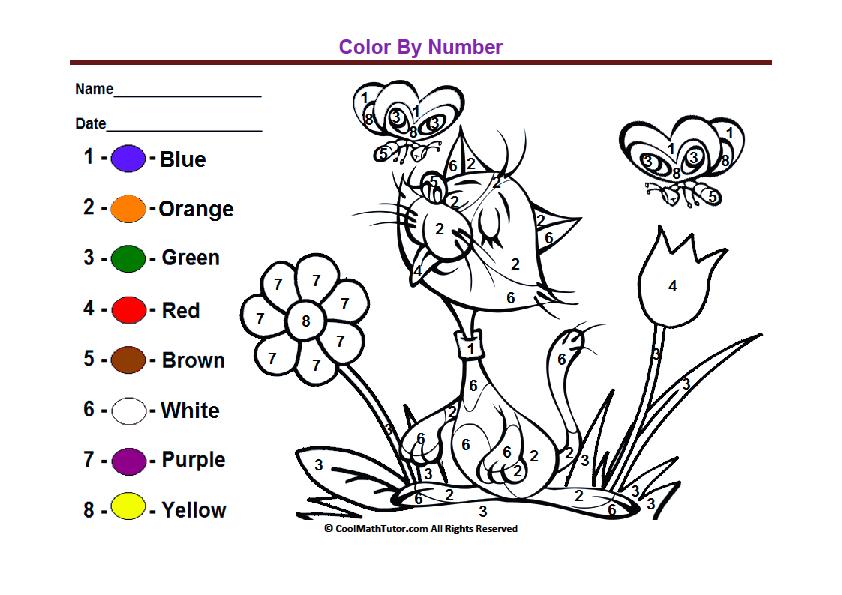 Pre kindergarten color by number worksheets