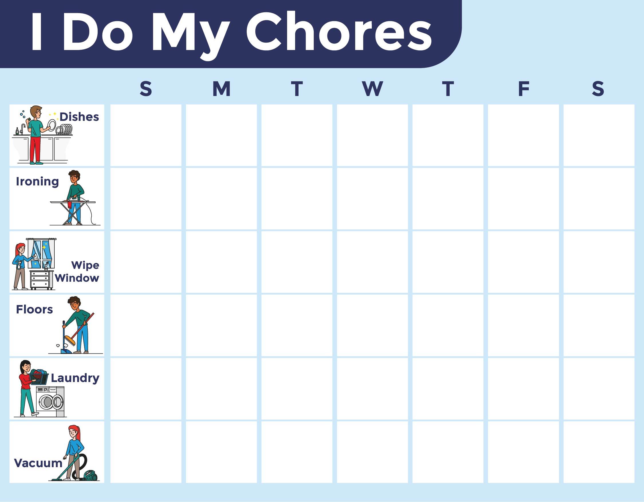 kids chore chart template