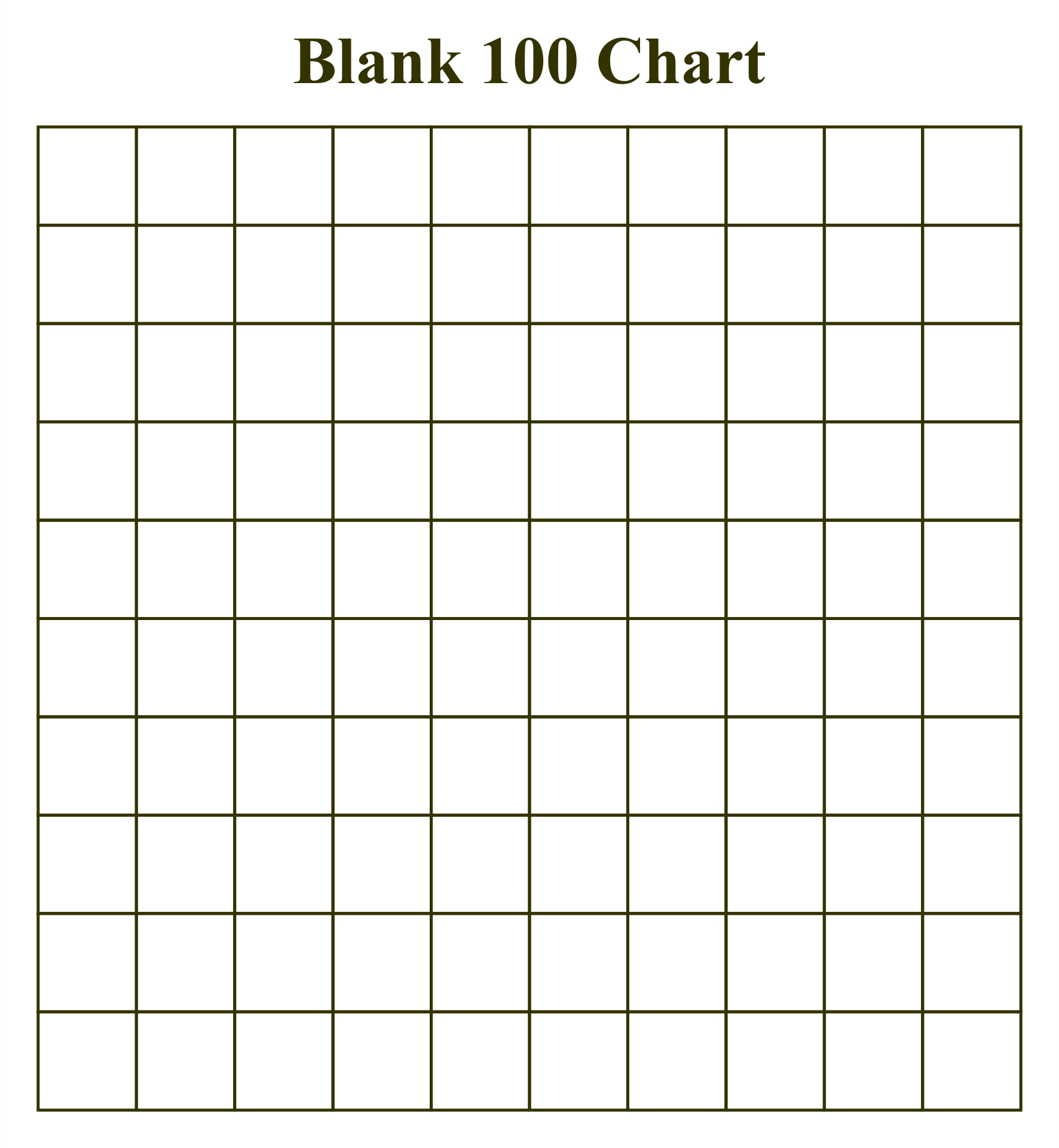 5 Images of 100 Chart Printable