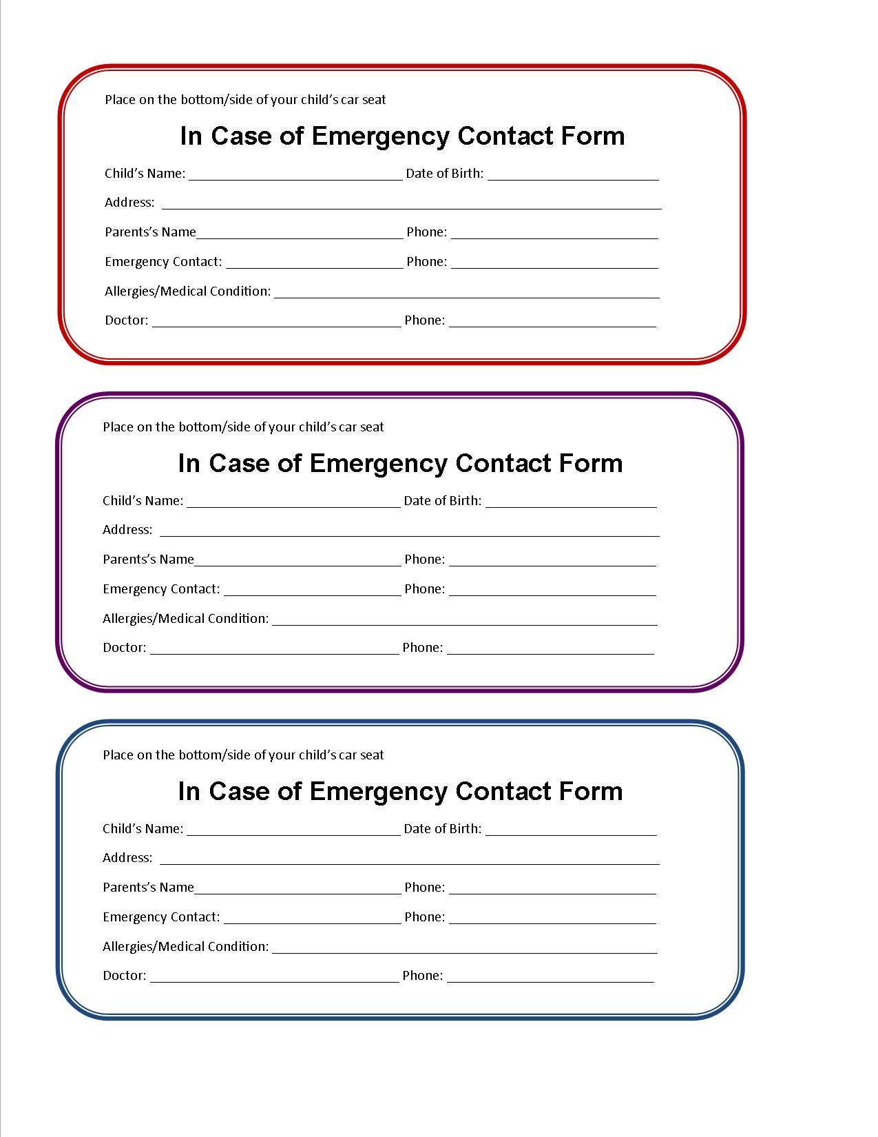7 best images of printable emergency information form for Emergency contact form template for child