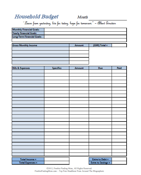Printable Household Budget Worksheets