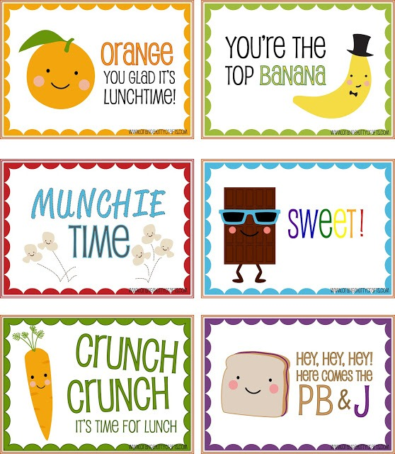 7 Images of Lunch Box Printables For Kindergarten