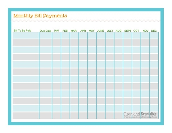 free printable bill payment list wow com image results