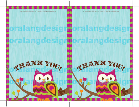7 Images of Printable Owl Thank You Cards