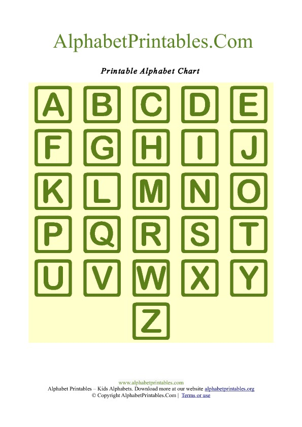7 Images of Square Alphabet Letters Printable
