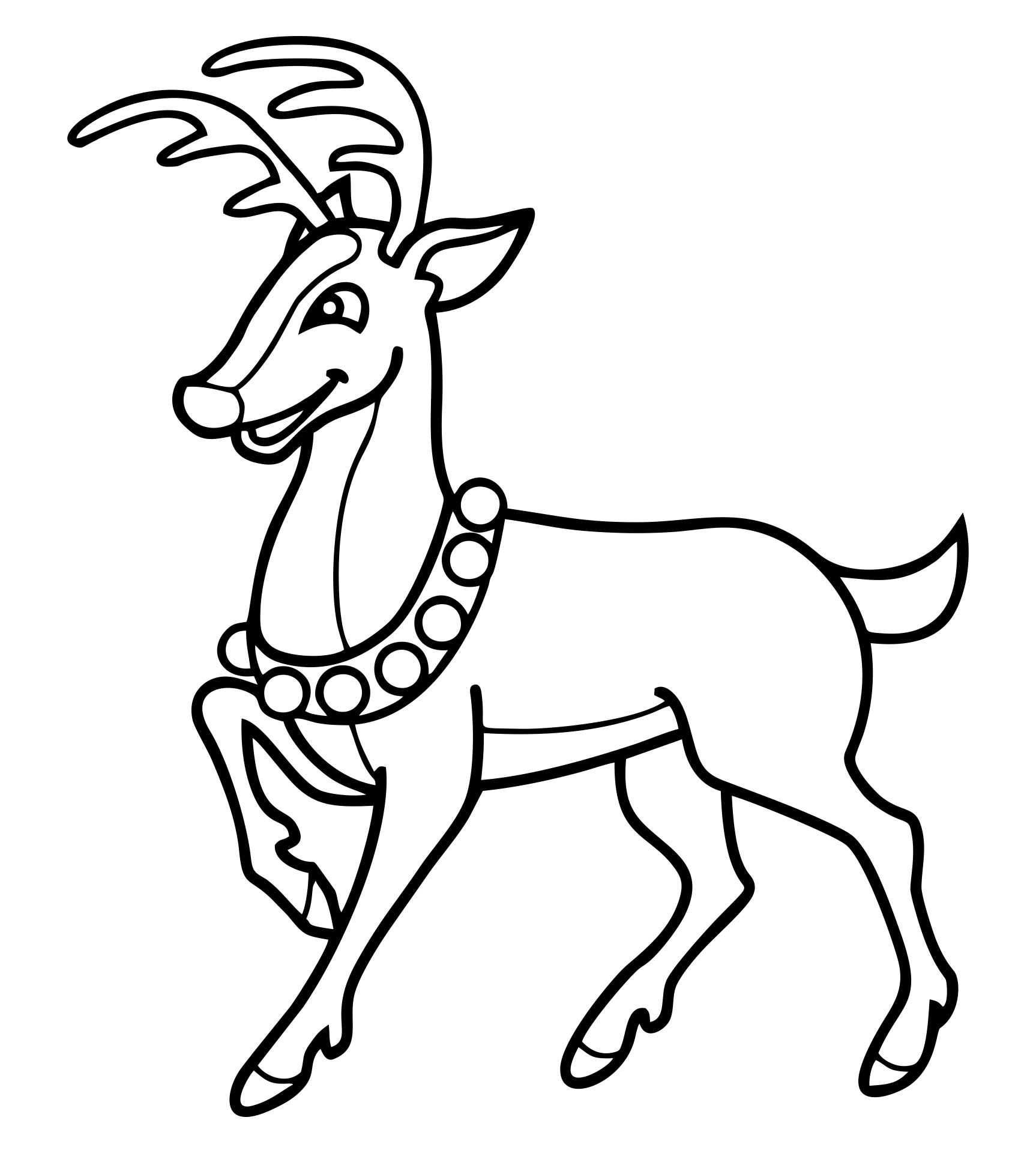 Reindeer Coloring Page Template