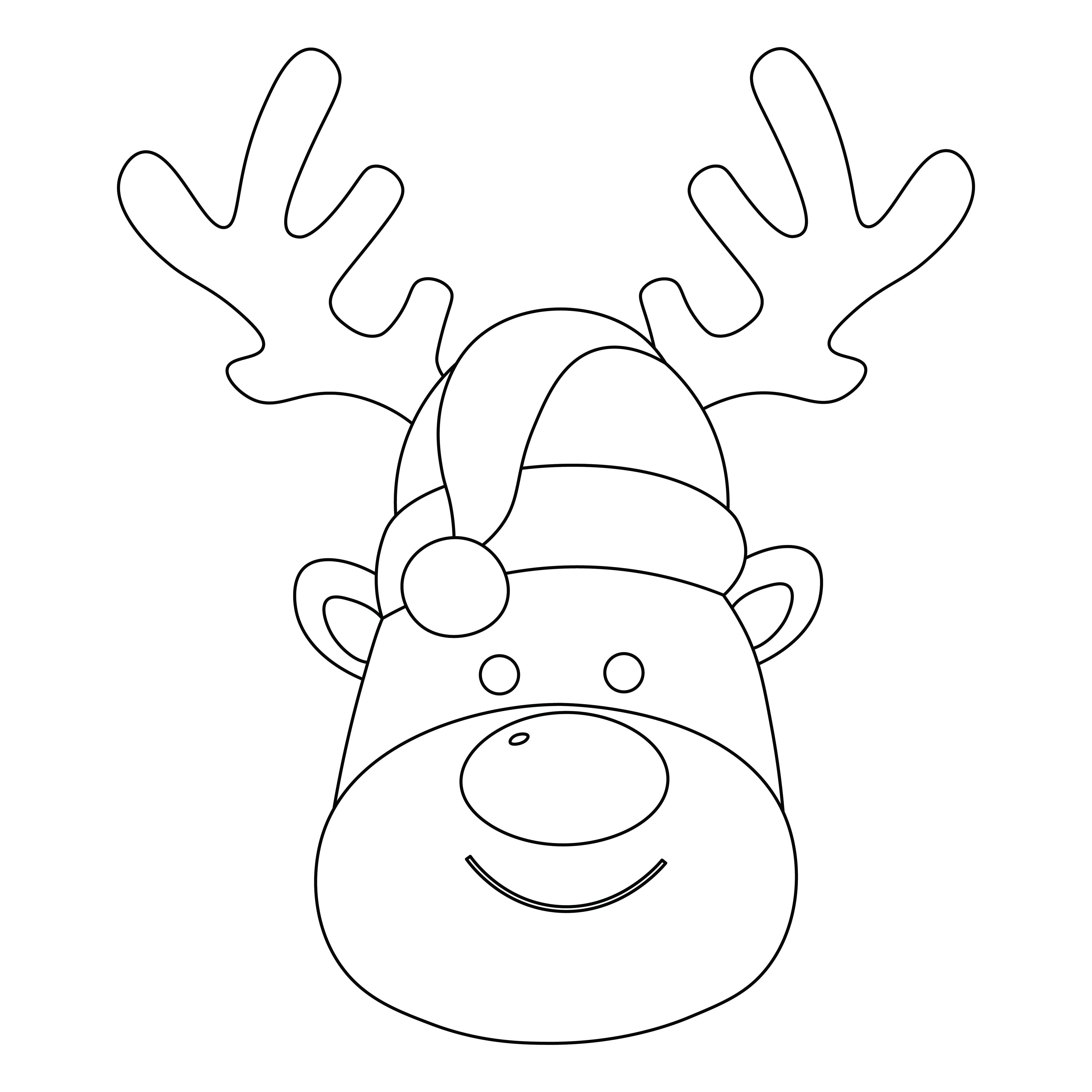 Reindeer Mask Coloring Template