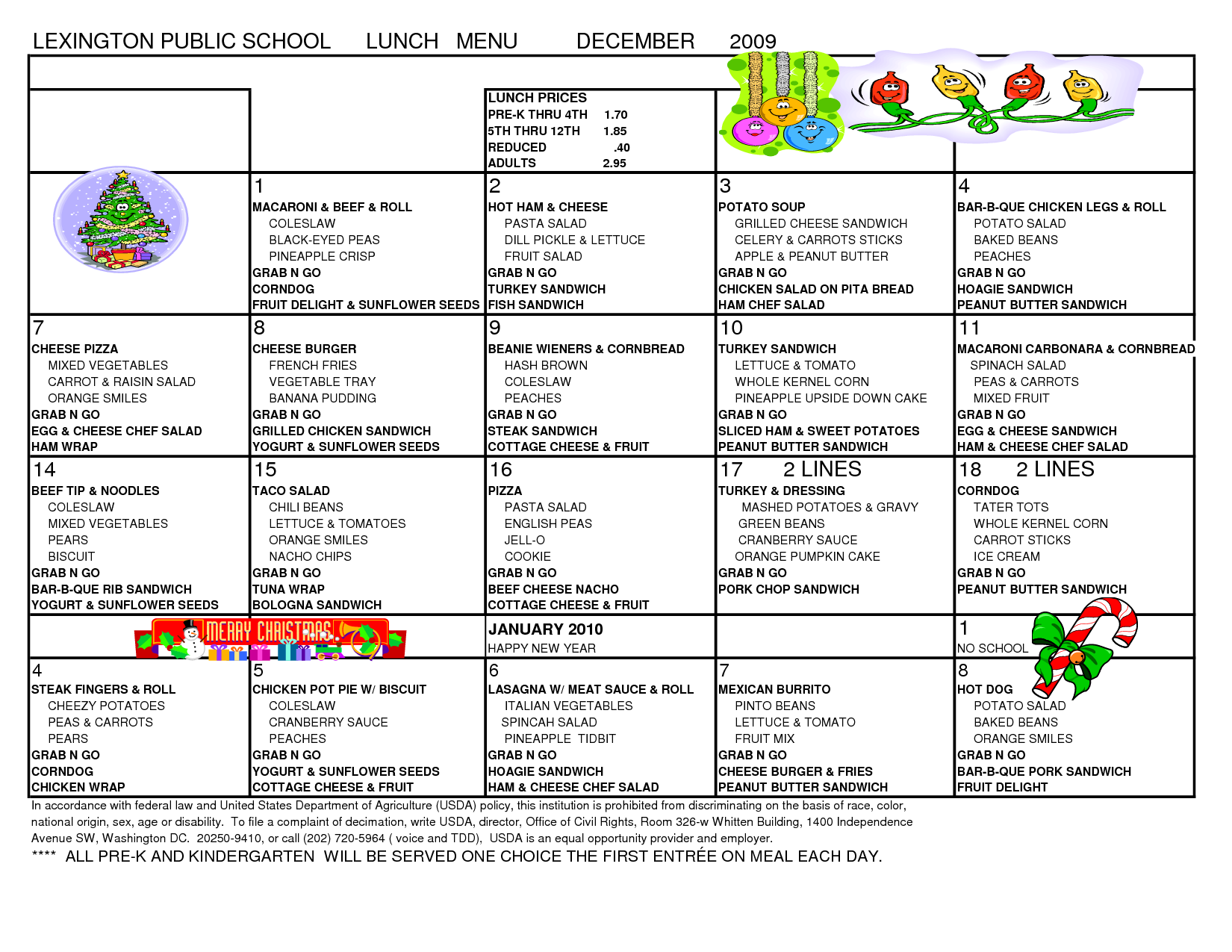 7 best images of school menu template printable school With free school lunch menu templates