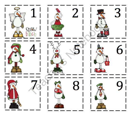Snowman Calendar Number Printables