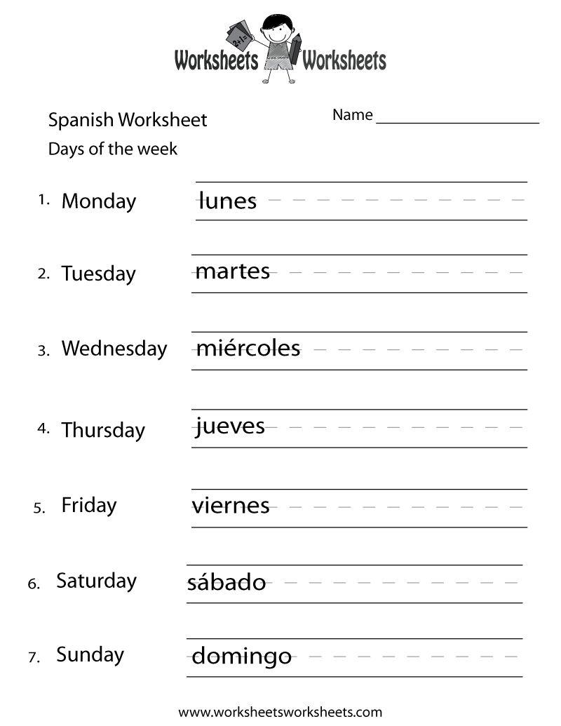 7 Images of Printable Spanish Worksheets Days Of The Week
