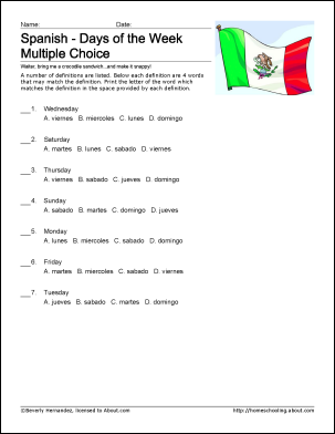 7 Best Images of Printable Spanish Worksheets Days Of The Week ...