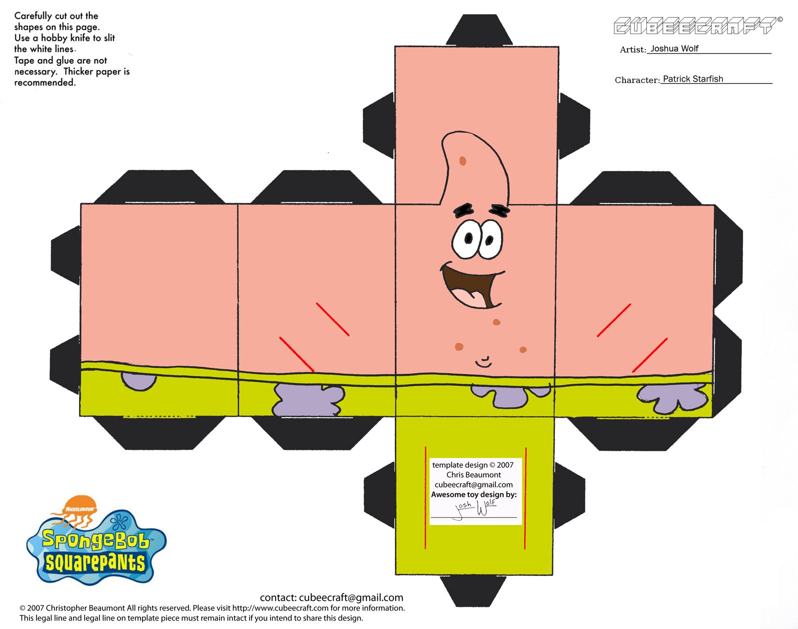 Spongebob 3D Cut Out Printable Paper Crafts