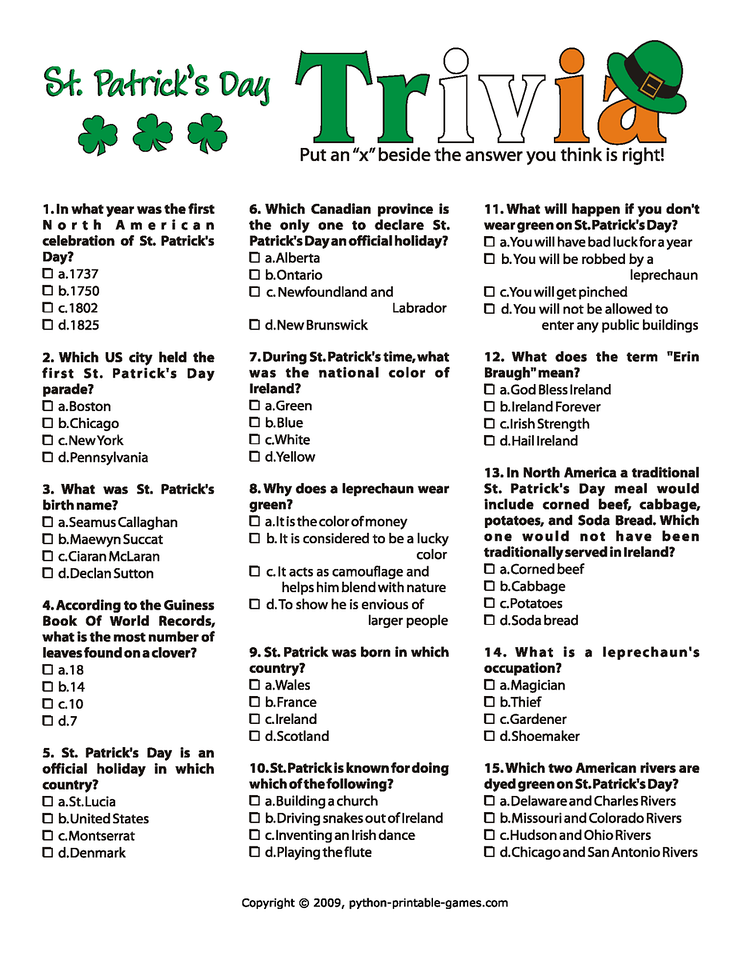 5 Images of St Patrick's Day Trivia Printable