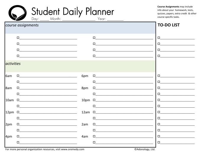 7 best images of student homework planner printable daily homework planner printable free. Black Bedroom Furniture Sets. Home Design Ideas