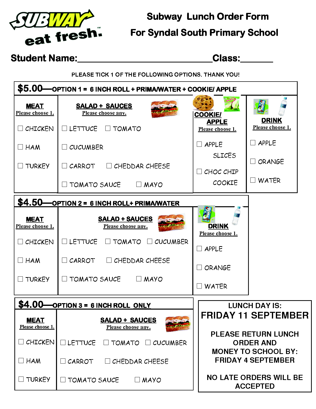 Subway Lunch Order Form