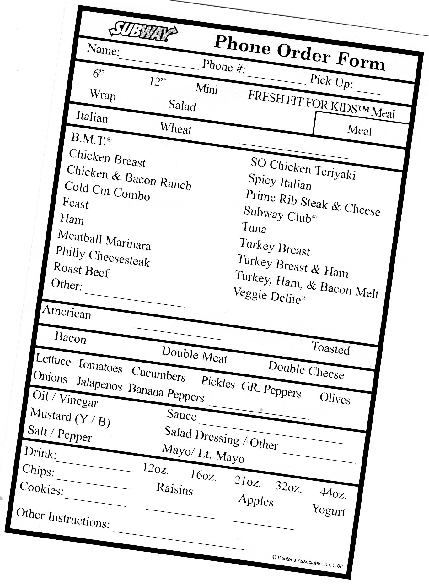Subway Order Form