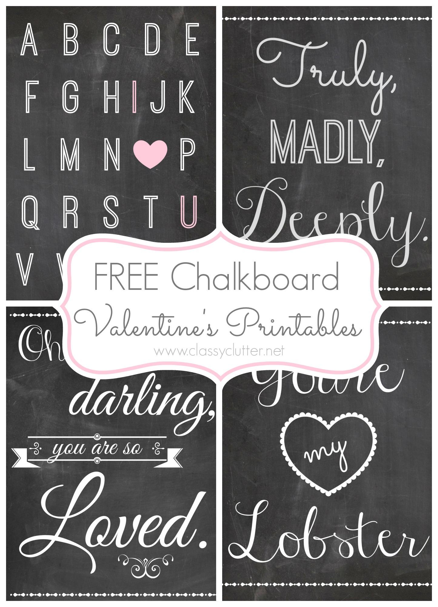 5 Images of Free Printable Valentine Chalkboard