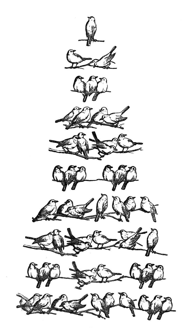 Vintage Bird Clip Art Christmas Tree