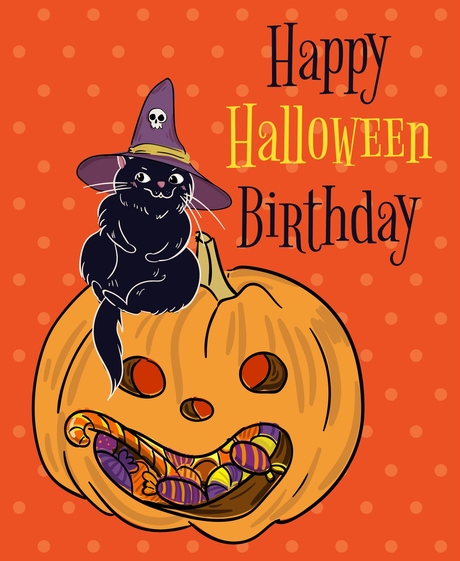 Vintage Halloween Printable Birthday Cards