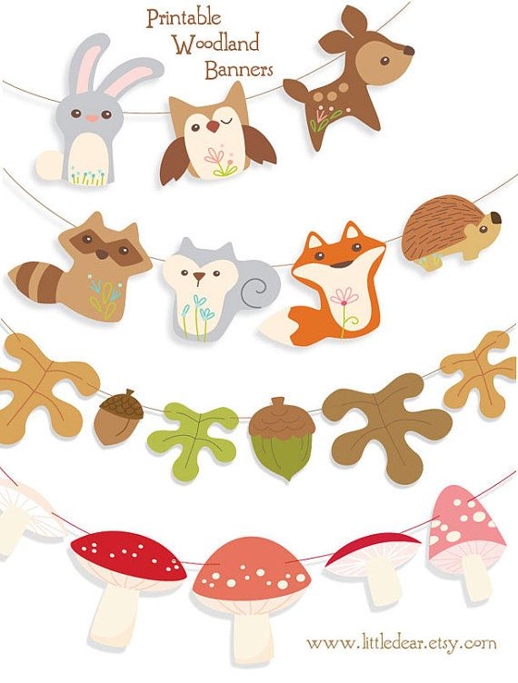5 Images of Printable Woodland Animals Banner