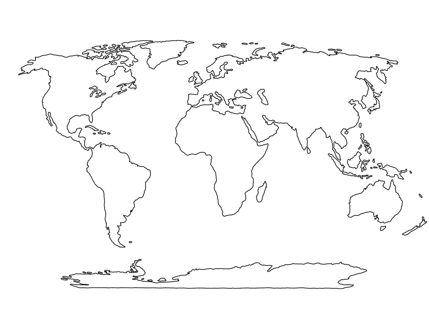 7 Images of Printable Blank World Maps