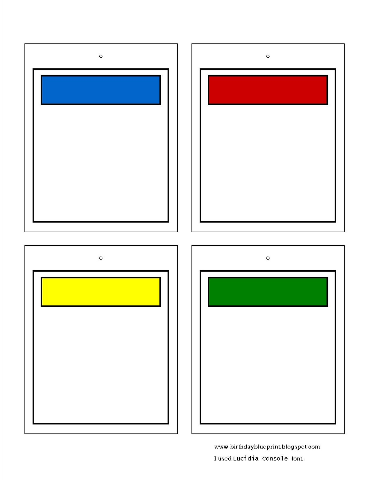 7 best images of blank printable game cards blank game for Custom monopoly board template