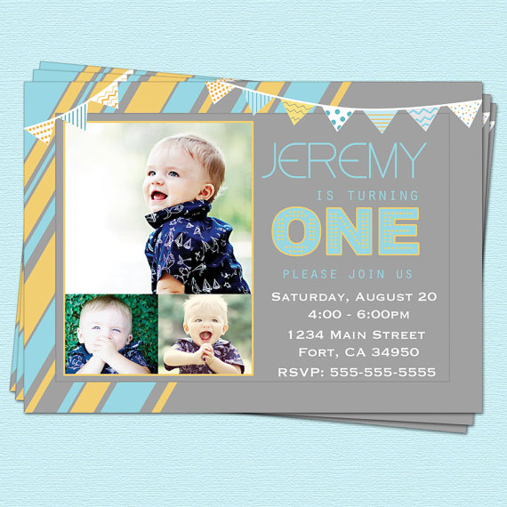 Boys First Birthday Invitation