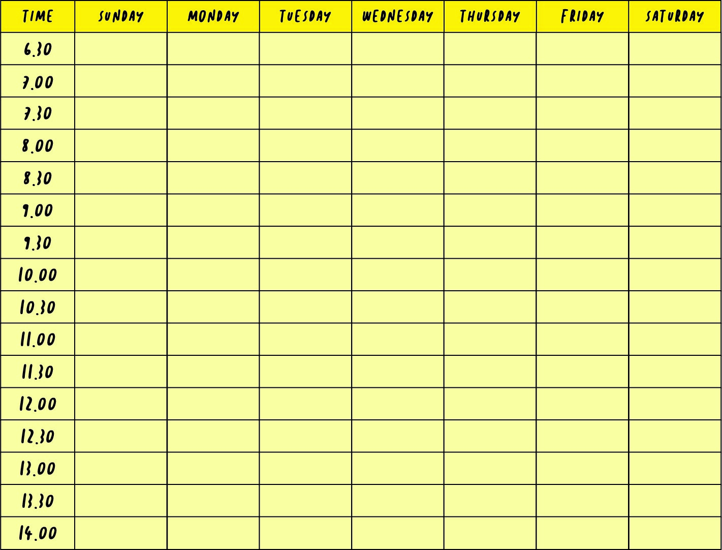Best Images of Printable Weekly Calendar With Time Slots - Printable ...